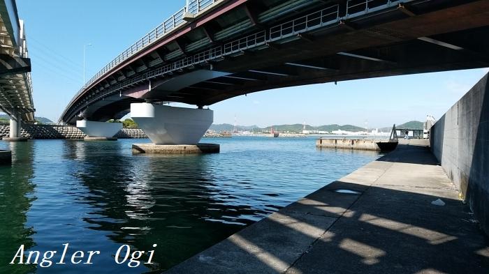 灘浜大橋真下のポイント。潮流が速いので気を付けましょう。