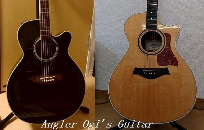 私のギター。左がタカミネ、右がテイラー。